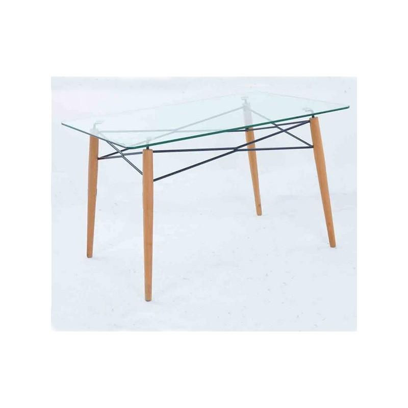 Mesa cristal y patas madera 120x80 glasgow dekodirect - Patas para comodas ...