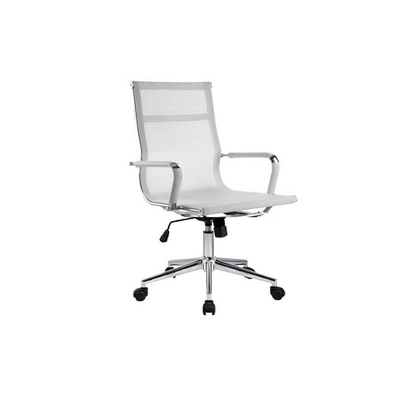 Silla oficina eames aluminium 117b baja malla blanca for Sillas de diseno blancas