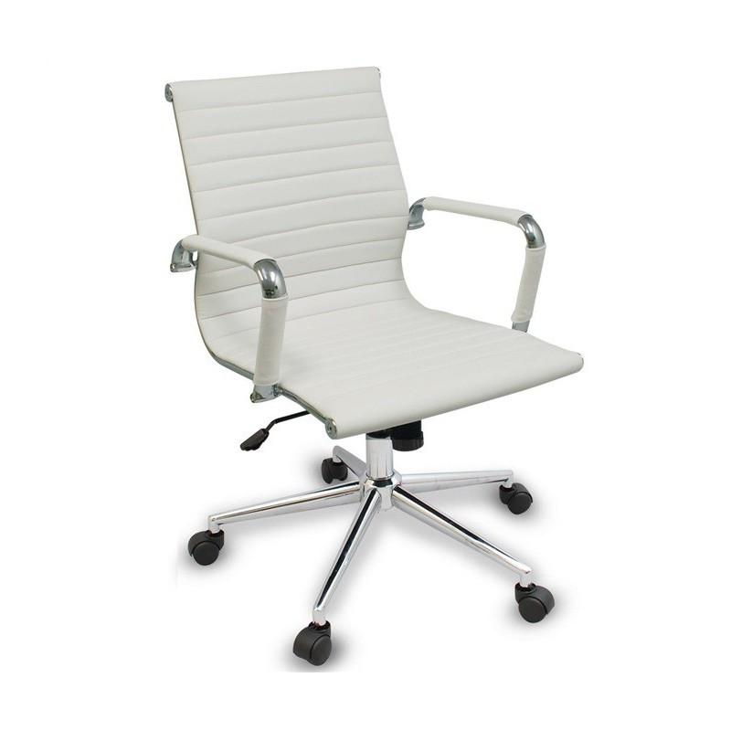 Silla de oficina eames aluminium 117b baja similpiel blanca for Sillas blancas para escritorio