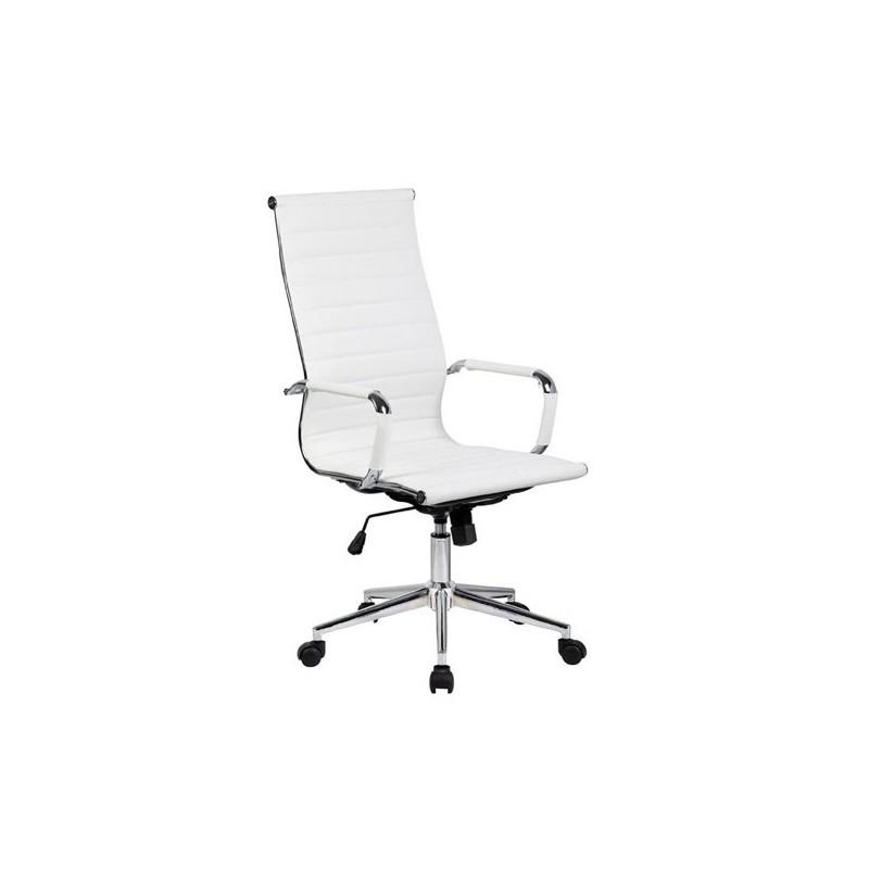 Silla oficina similpiel blanca a 119 alta aluminium for Silla oficina alta