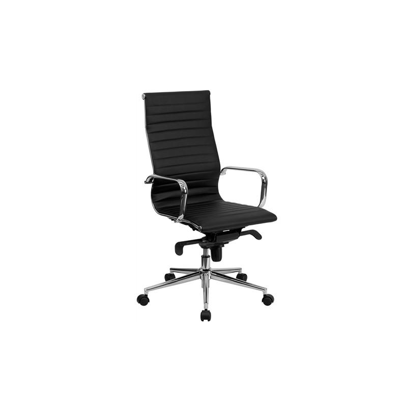 Silla de oficina eames aluminium 119a alta similpiel negra for Sillas de oficina altas
